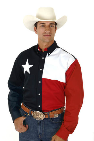 Roper Mens Texas Pieced Flag L/S Shirt