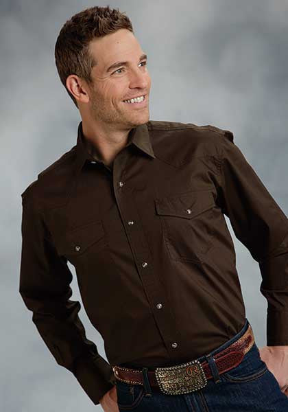 Stetson Mens Solid Poplin 1Pt Back Yoke Vergtd Snap L/S Shirt