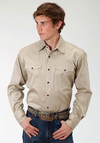 Roper Mens Solid Poplin - Tan L/S Shirt