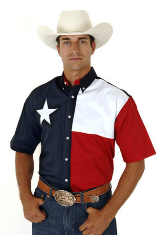 Roper Mens Texas Pieced Flag S/S Shirt
