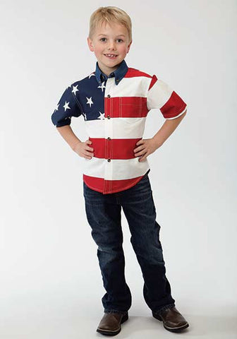 Stetson Boys Stars & Stripes Pieced American Flag Short Sleeve Shirt
