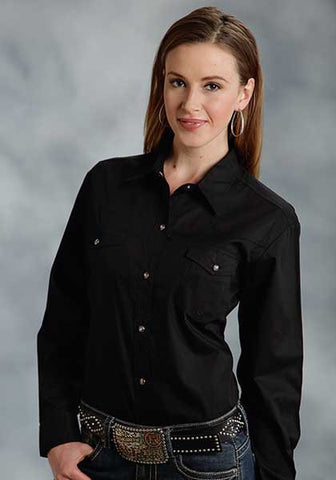 Roper Ladies Solid Poplin 1Pt Back Yoke Vergtd L/S Shirt
