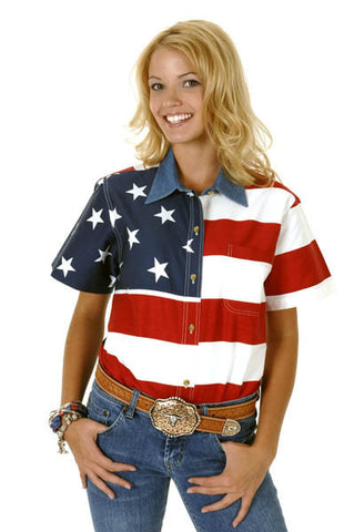 Roper Ladies Stars & Stripes Pieced American Flag S/S Shirt