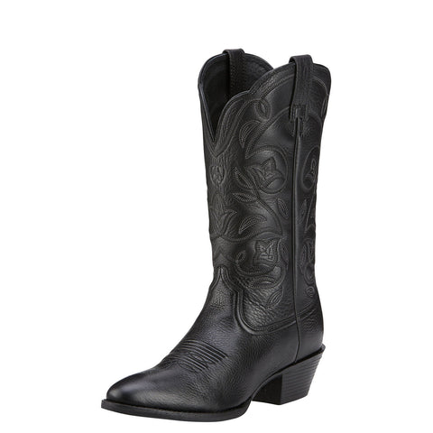 Ariat Women's Heritage Western R Toe Boot Black Deertan