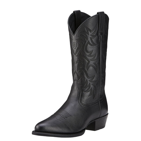 Ariat Men's Heritage Western R Toe Boot Black Deertan