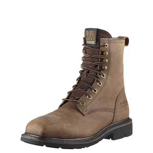"Ariat Men's Cascade 8"" Wide Square Toe Steel Toe Boot - Brown"