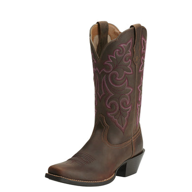 Ariat Women's Round Up Square Toe Boot Powder Brown