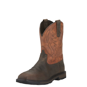Ariat Men's Groundbreaker Wide Square Toe Steel Toe Boot - Brown