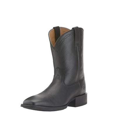 Ariat Men's Heritage Roper Wide Square Toe Boot Black Deertan