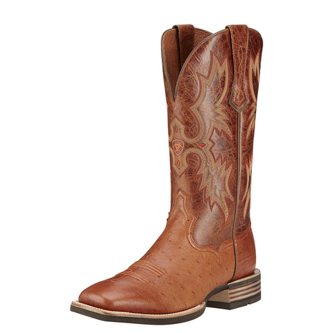 Ariat Men's Tombstone Smooth Quill Ostrich Boot - Brown