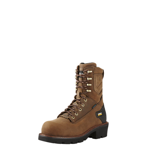 "Ariat Men's Powerline 8"" H2O Comp Toe Boot - Brown"
