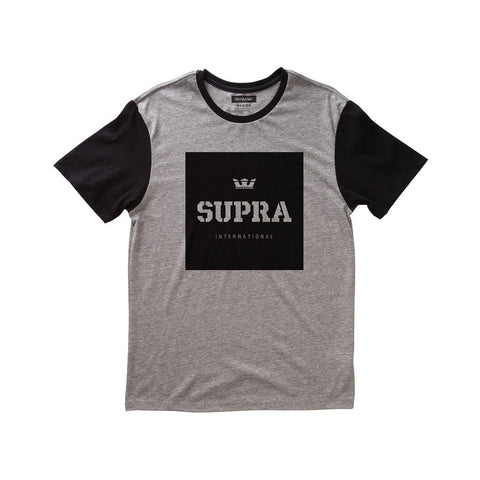Supra Men's International Colorblock T-Shirt Grey Heather / Black