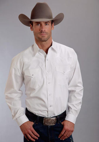 Stetson Mens 0158 Optic White Poplin L/S Shirt