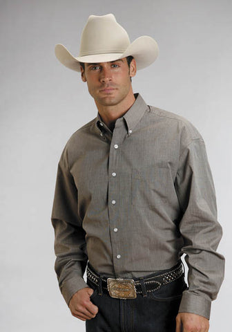 Stetson Mens 5661C3 End On End - Brown L/S Shirt