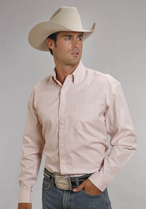 Stetson Mens 5661 End On End - Pink L/S Shirt