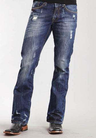 "Stetson Mens Dark Wash W/Destruction ""X"" Emb On Pkt Jeans"