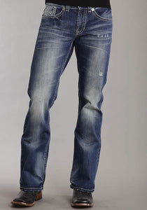 "Stetson Mens Med Wash W/White ""X"" Back Pkt Deco Jeans"