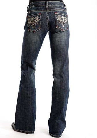 Stetson Ladies Candelabra Deco W/Red 'X' Stitching Jeans