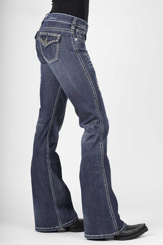 Stetson Ladies Med Wash Heavy Thick Contrast Top Stit Jeans