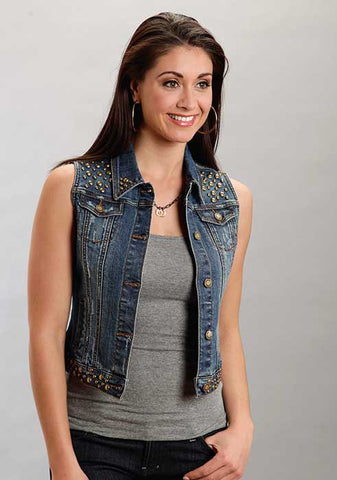 Stetson Ladies Denim Vest Jacket W/Studding Vest