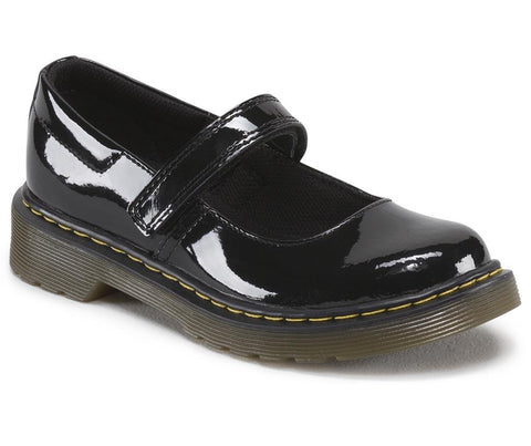 Dr. Martens Girl's Maccy Patent Mary Jane, Black