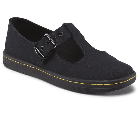 Dr. Martens Women's Woolwich T Bar Loafers Shoes Black 7 UK Black
