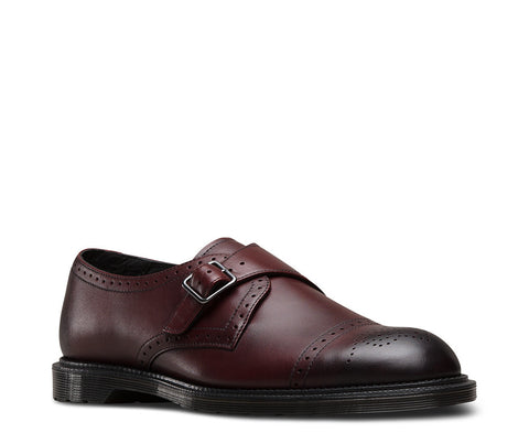 Dr. Martens Men's Cobden Monk Strap Shoe Cherry Red