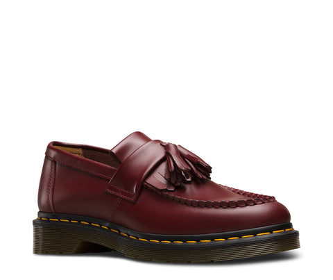 Dr. Martens Unisex Adrian Yellow Stitch Tassel Loafer Cherry Red