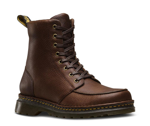 Dr. Martens Men's Lombardo Grizzly 8 Eye Boot, Dark Brown