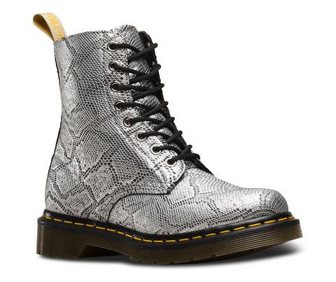 Dr. Martens Women's Vegan Metallic Pascal 8 Eye Boot, Silver