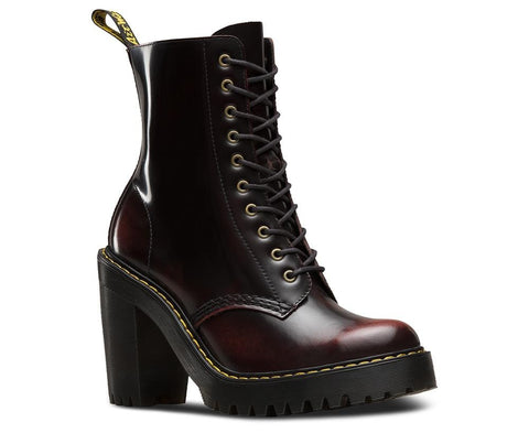 Dr. Martens Women's Kendra Arcadia 10 Eye Boot, Cherry Red
