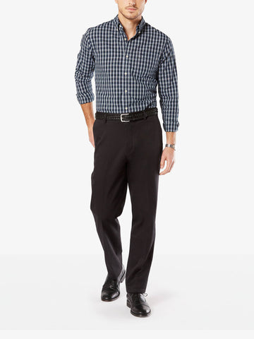 Dockers Men's Signature Stretch Classic Flat Front Pant Black 81.2
