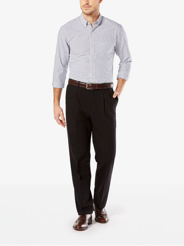 Dockers Men's Signature Stretch Classic Pleated Pant Black 81.2