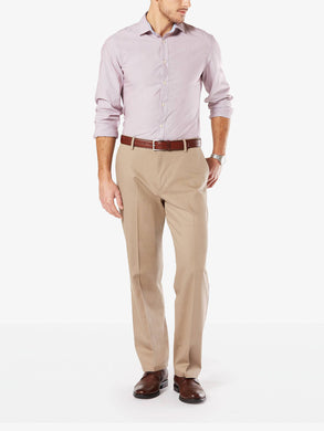 Dockers Men's Signature Stretch Relaxed Flat Front Pant Timber Wolf