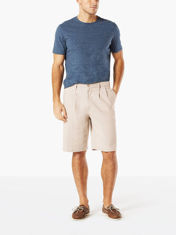 Dockers Men's Classic Double Pleated Short Porcelain Khaki