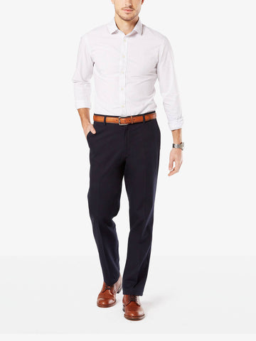 Dockers Men's Signature Stretch Straight Flat Front Pant Dockers Navy