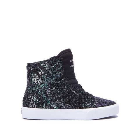 Supra Kids Skytop Sneakers Black Sequin - White
