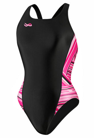 Speedo Women's Breaststroke 4 Hope Rainbow Stripe Pulse Back