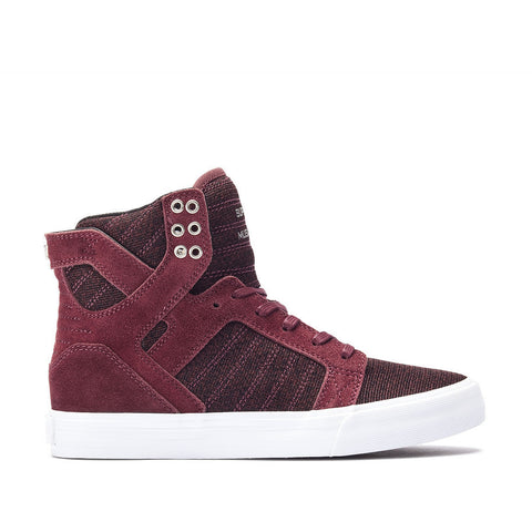 Supra Women's Skytop Sneakers Burgundy - White