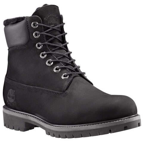 "Timberland Men's Heritage 6"" Warm Lined Boots Black Roughcut Warm Lined"