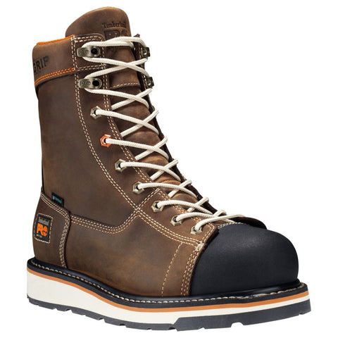 "Timberland PRO Men's Gridworks 8"" Soft Toe Work Boots Brown"