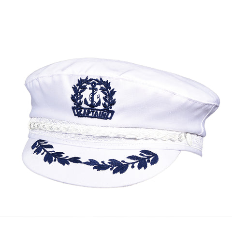 Aegean Men's Cotton Captain'S Cap White
