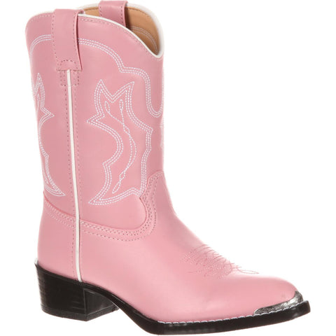 Durango Little Girls Dusty Pink & Chrome Western Boot