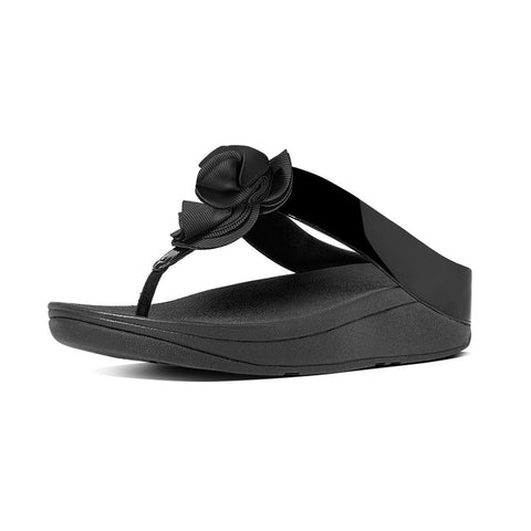 Fitflop Women's Florrie™ Patent Toe-Thong Sandals Black