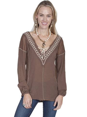 "Scully HC218 Women's Embroidered ""V"" Neck Blouse"