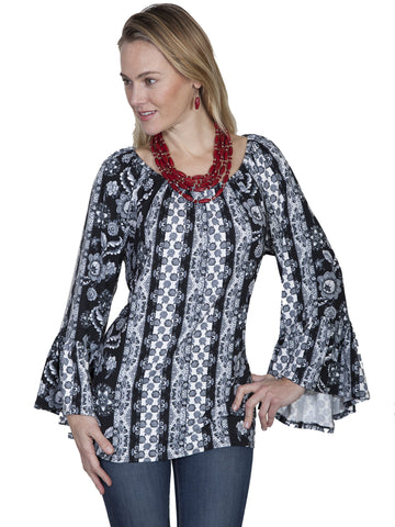 Scully HC255 Women's  Black & White Peasant Blouse