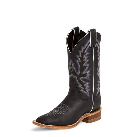 Justin BRL316 Women's Black Burnished Calf Bent Rail Boots