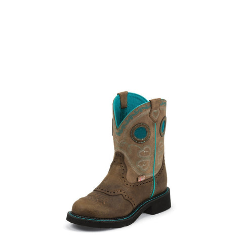 Justin L9619 Women's Brown Gypsy Boots With Light Blue Accents