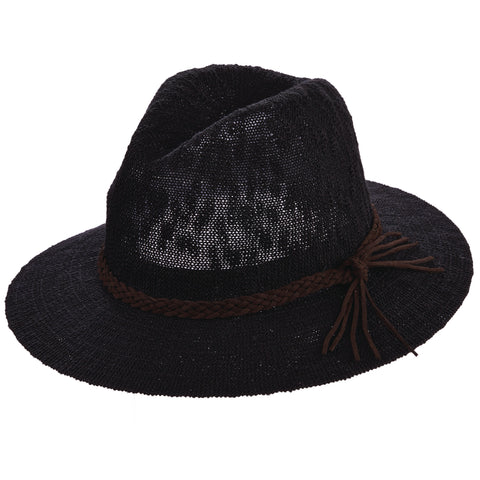 Scala Pronto Women's Knit Safari With Braid Trim Hats Black