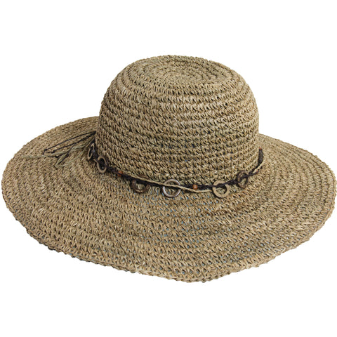 Scala Collezione Women's Crochet Seagrass Hat With Wood Trim Hats Natural